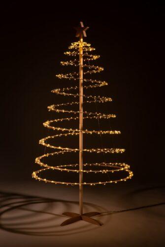 kerstboom hout met verlichting
